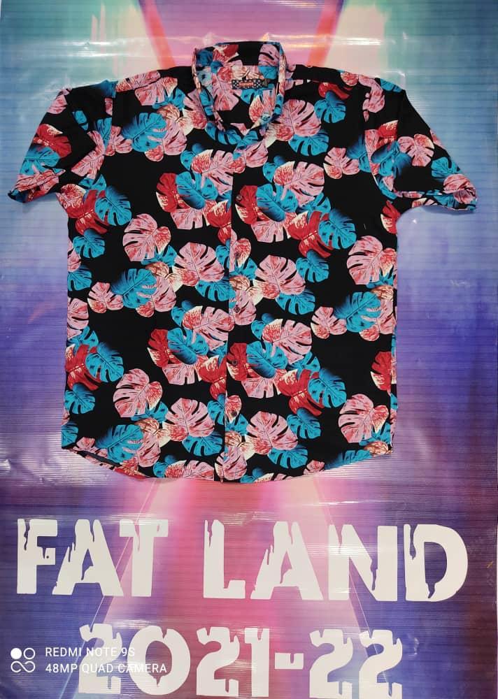 پیراهن هاوایی سایز بزرگ پارچه نخی - کد ۱۷۷