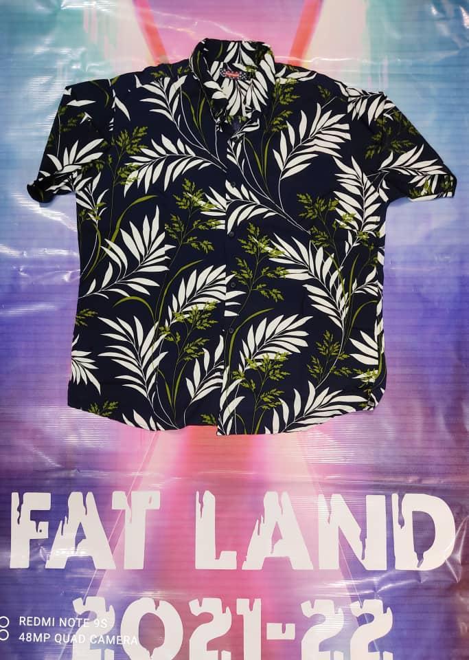 پیراهن هاوایی سایز بزرگ پارچه نخی - کد 184