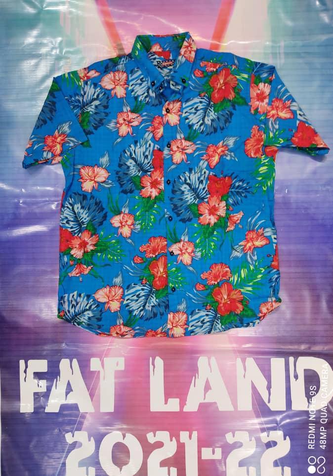 پیراهن هاوایی سایز بزرگ پارچه نخی - کد 187