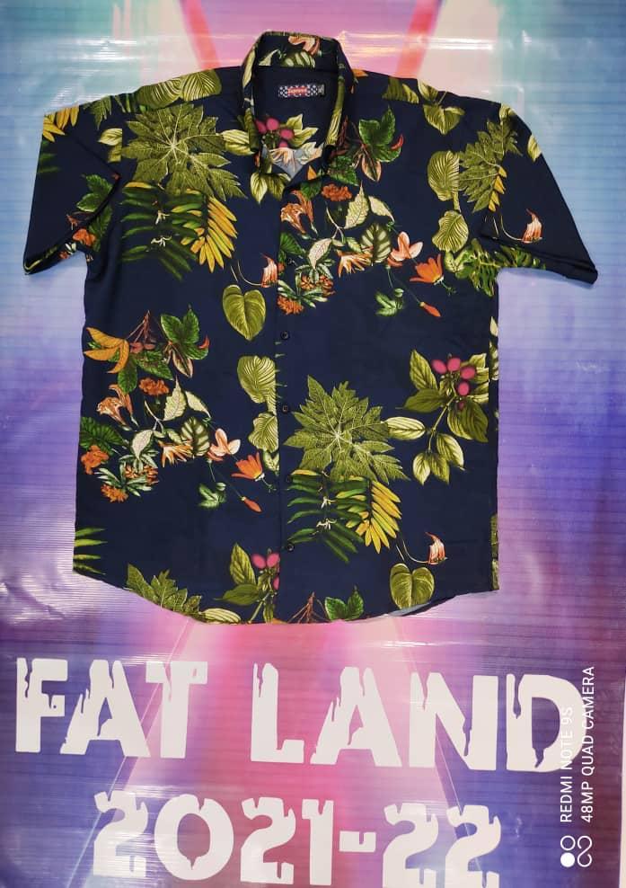 پیراهن هاوایی سایز بزرگ پارچه نخی - کد ۱۸۱