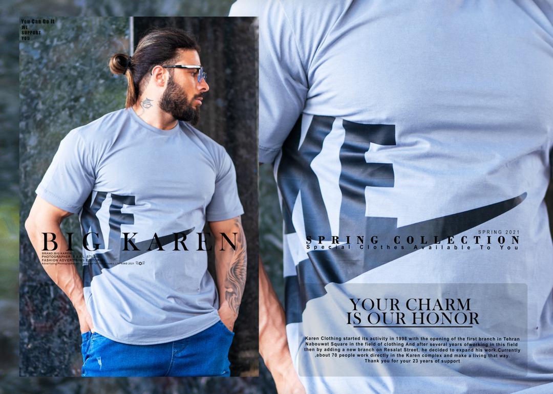 تیشرت سایز بزرگ مردانه Nike - کد 211 رنگ طوسی