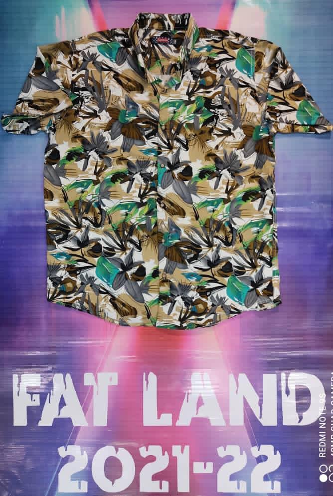 پیراهن هاوایی سایز بزرگ پارچه نخی - کد 186