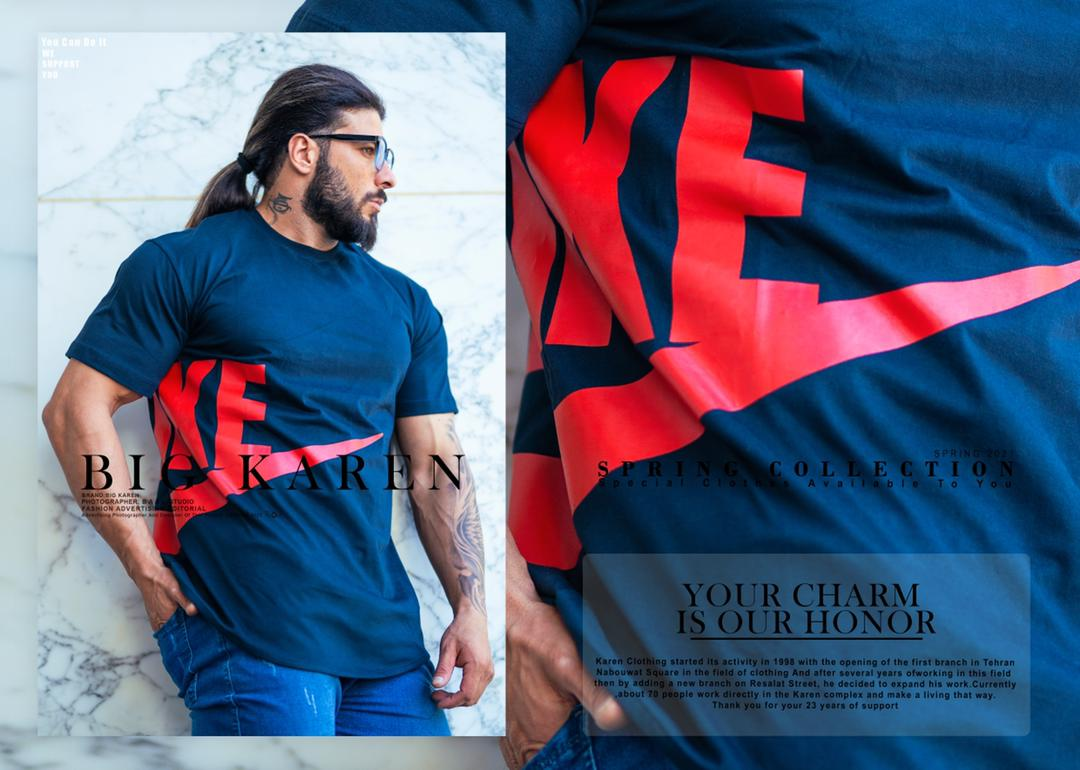 تیشرت سایز بزرگ مردانه Nike - کد 211 رنگ سرمه ای