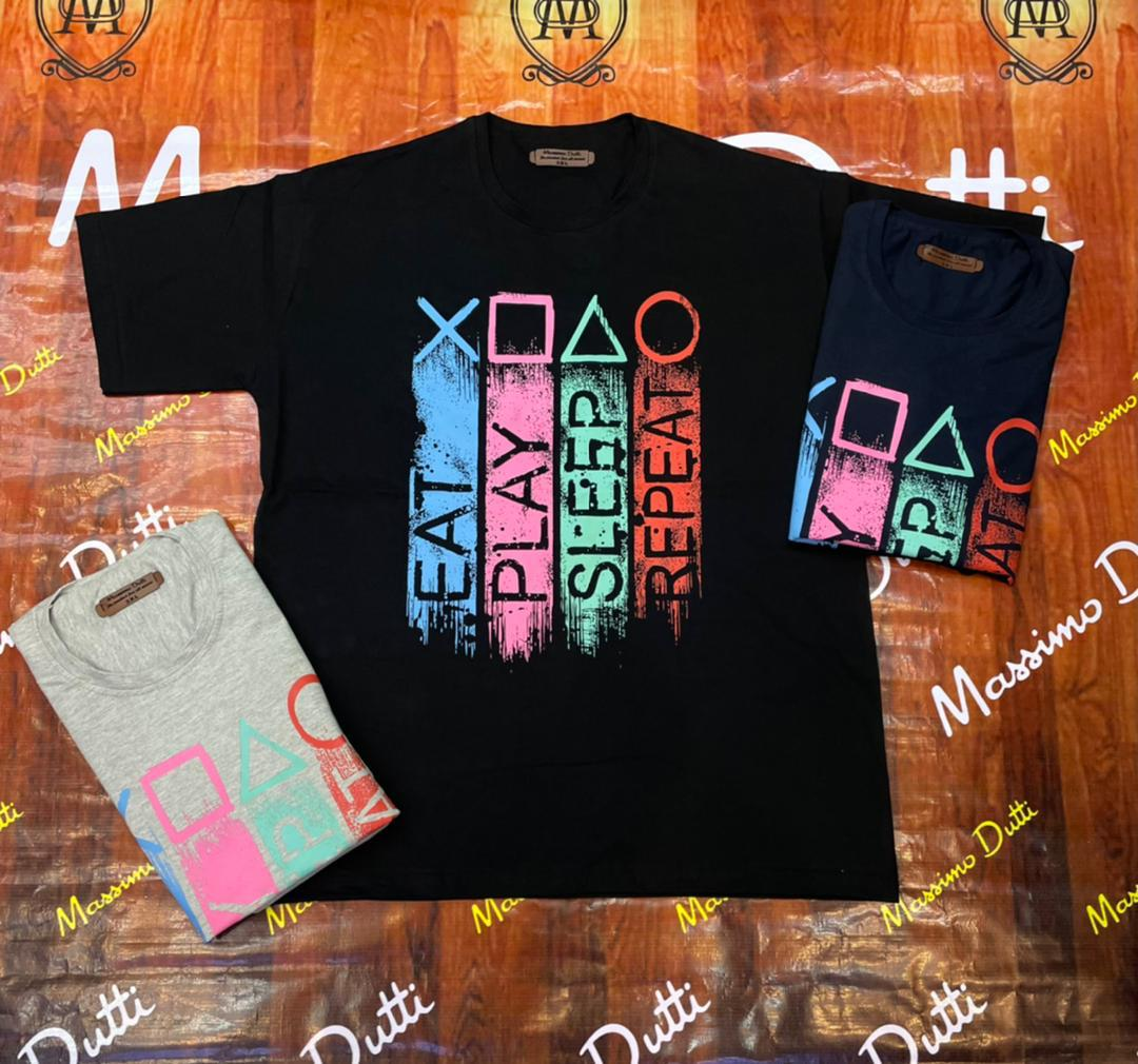 Patterned large size men's t-shirt - code 222