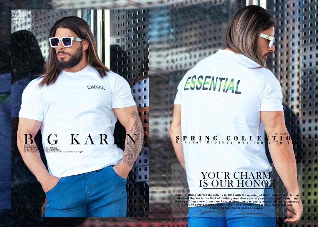 تیشرت سایز بزرگ مردانه Essential - کد 212 رنگ سفید