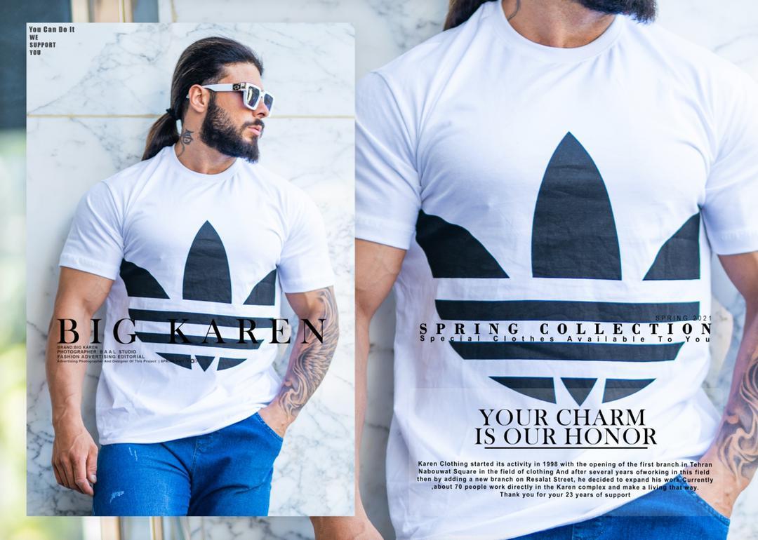 تیشرت سایز بزرگ مردانه Adidas - کد ۲۱۰ رنگ سفید