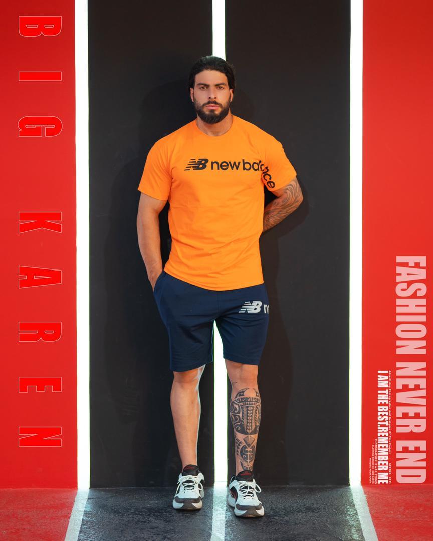 تیشرت سایز بزرگ مردانه پنبه براش نارنجی