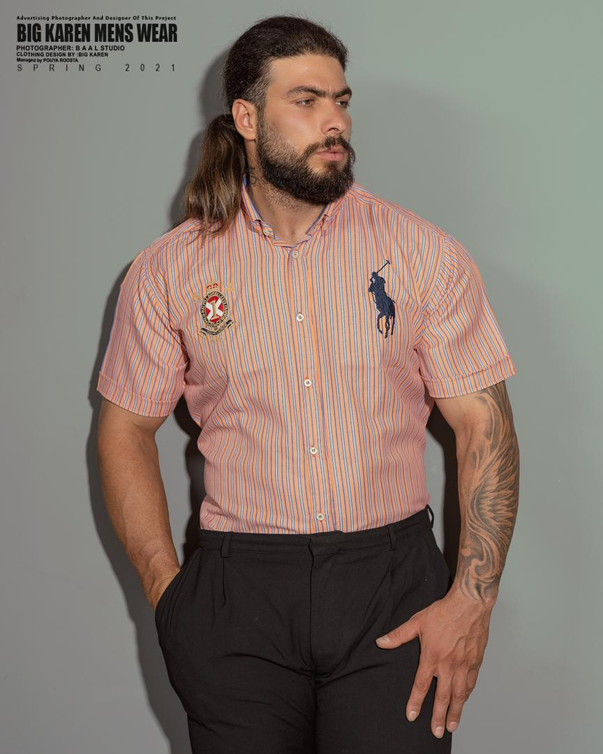 پیراهن سایز بزرگ مردانه راه راه برند Polo - کد ۲۰۸ گلبهی
