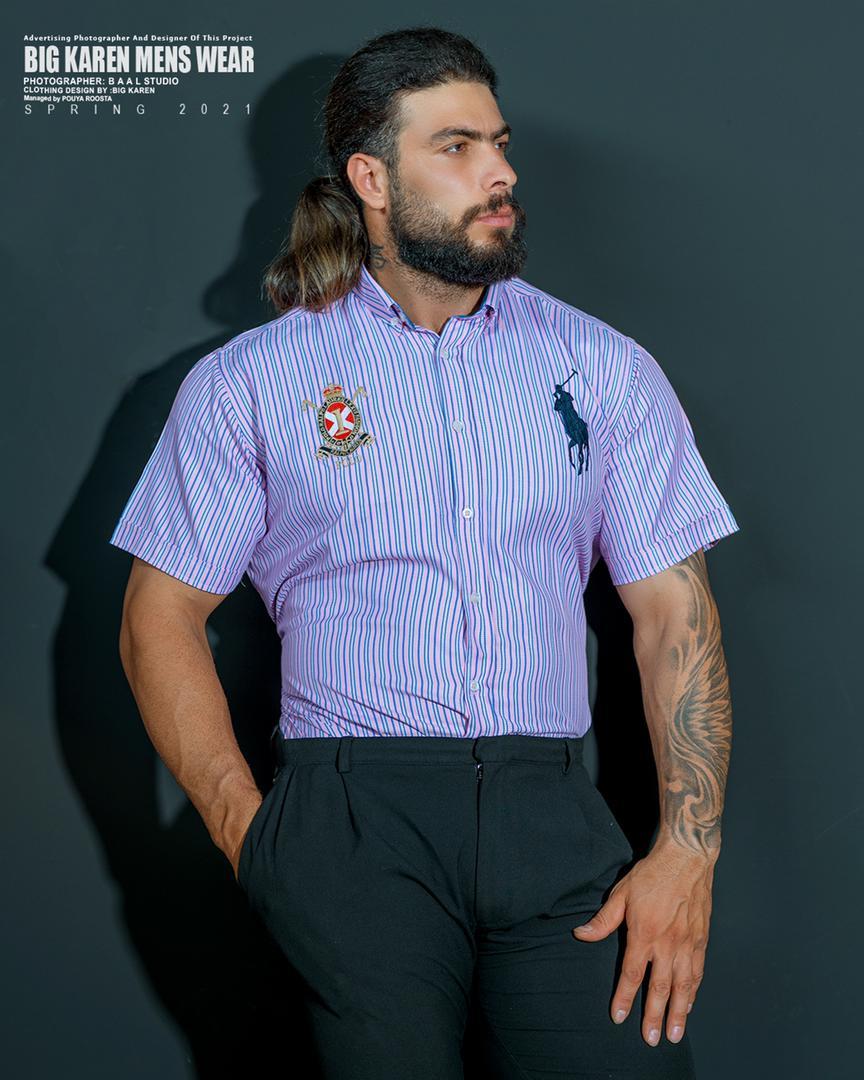 پیراهن سایز بزرگ مردانه راه راه برند Polo - کد ۲۰۸ بنفش