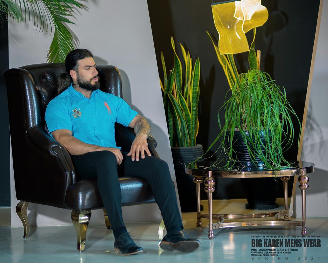 پیراهن سایز بزرگ مردانه ساده برند Polo - کد 209 آبی
