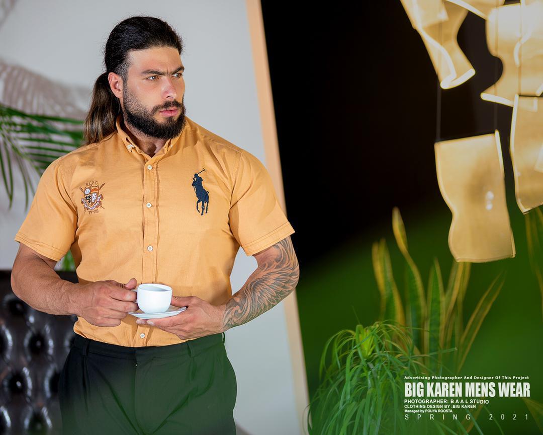 پیراهن سایز بزرگ مردانه ساده برند Polo - کد 209 کرمی