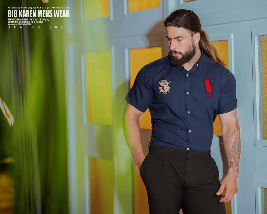 پیراهن سایز بزرگ مردانه ساده برند Polo - کد 209 سرمه ای